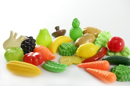 Plastic game, fake varied vegetables and fruits. Children food education toy