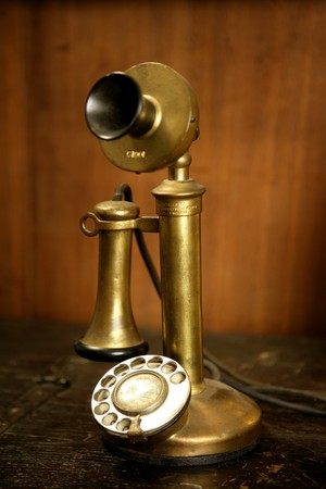 Vintage golden brass spanish old telephone Stock Photo - 4030345