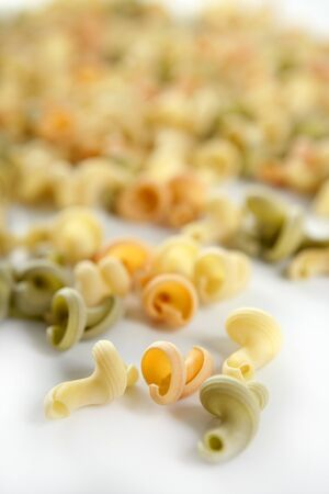 Twisty snail shape, Italian multicolor pasta texture photo