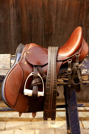 tacks: Horse riders complements, rigs, mounts, leather over wood