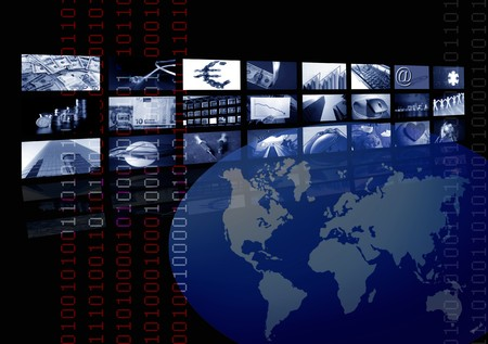 Business corporate, world map, multiple screen. Metaphor mixing photo and ilustration in blue color