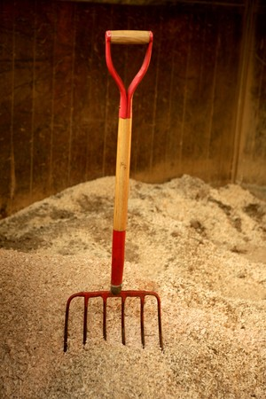sawdust: Horse stable witth straw fork tool, sawdust. Stock Photo
