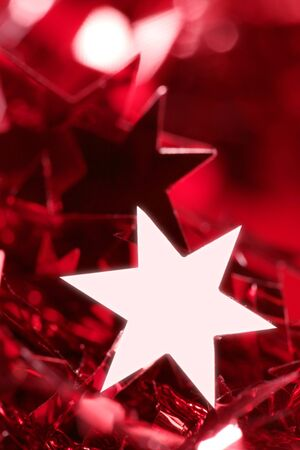 Christmas star card decoration still at studio red background photo