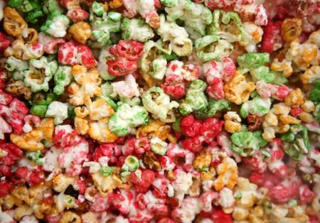 multi color children sweet pop corn macro texture photo