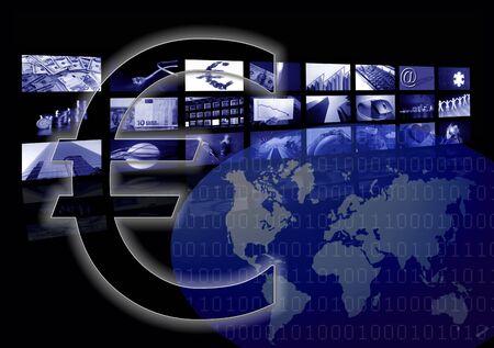 Business corporate, world map, multiple screen, Euro metaphor photo