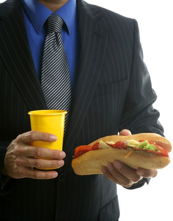businessman eating junk fast food, studio white background Stock Photo - 4093965