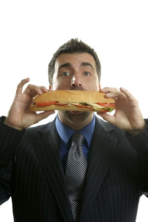 businessman eating junk fast food, studio white background Stock Photo - 4097064