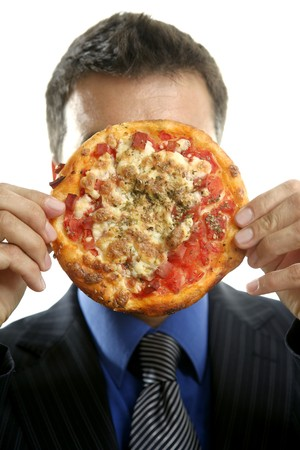 businessman and pizza junk fast food, studio white background photo