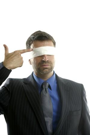 blindfolded: Blindfolded businessman suicide metaphor, conceptual image