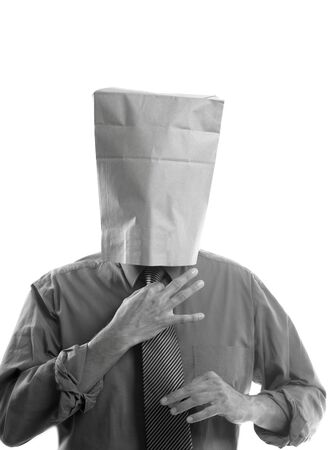 Businessman with paper bag in head photo