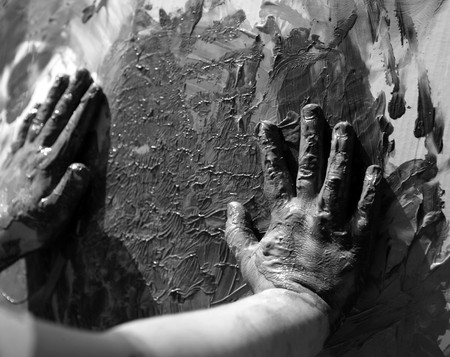 grease paint: Children dirty dark hands, paint game, mud, grease, black and white