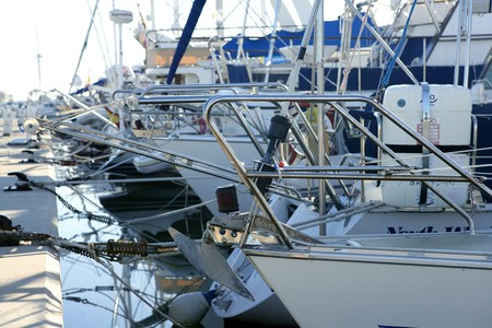 Marina in mediterranean sea. Boats details photo