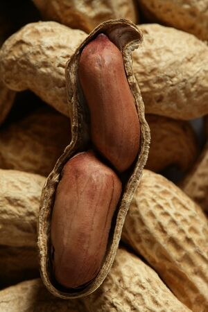 Peanuts macro over warm wood background Stock Photo - 4117454