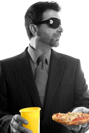 businessman eating junk fast food, studio white background photo