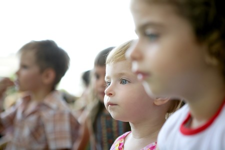 Spectator children observing spectacle. Looking at the show Stock Photo - 4166252