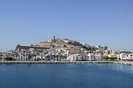 touristic: Ibiza from balearic islands in Spain. Mediterranean touristic vacation town