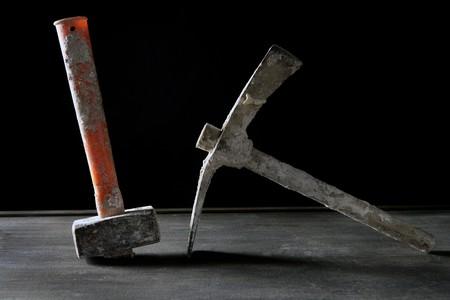 Hardware construction hand used dirty tools, studio over dark black wood Stock Photo - 4170161