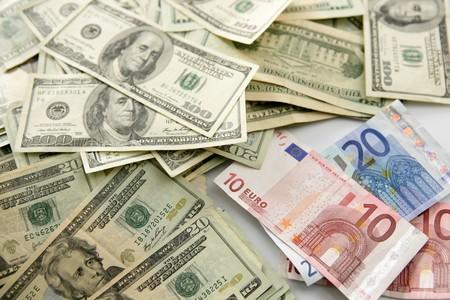 dolar: Dolar versus euro notes, finance metaphor image