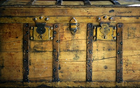 antique coins: Old wooden chest, trunk in golden color and rusty Stock Photo