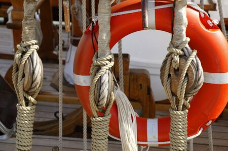 wire pin: Sailboat wooden marine rigs and ropes. Nautical traditional tackle