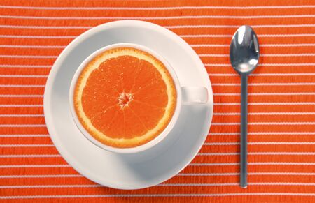 healthy breakfast cup of orange instead caffeine, natural food Stock Photo - 4181354