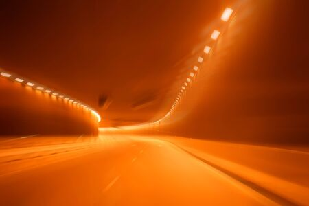 Red golden blurred light tunnel, alcoholic driver Stock Photo - 4186460