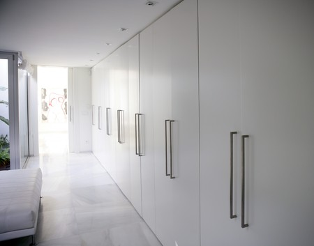 modern white long marble flooring corridor closet, contemporary wardrobe photo