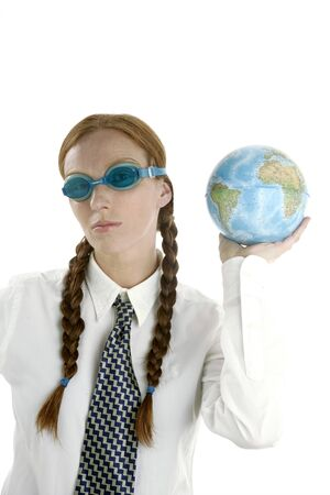 Business woman humor image, swiming goggles and world map Stock Photo - 4201528