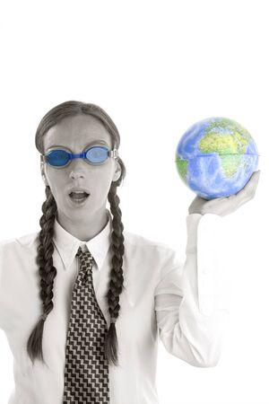 Business woman humor image, swiming goggles and world map Stock Photo - 4201526