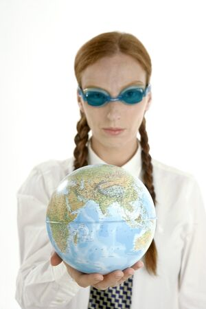 Business woman humor image, swiming goggles and world map Stock Photo - 4201524