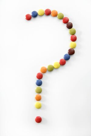 Candy sweets question mark isolated over white background Stock Photo - 4214213