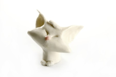 plasticine handmade cat isolated over white background Stock Photo - 4238271
