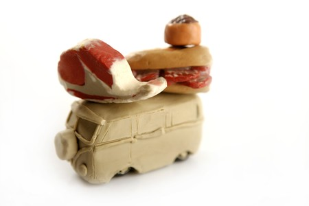 Handmade plasticine van with food over, meat, sandwich, isolated photo