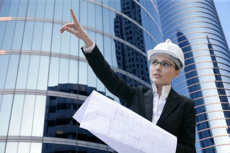architect woman working outdoor with modern buildings Stock Photo - 4280130