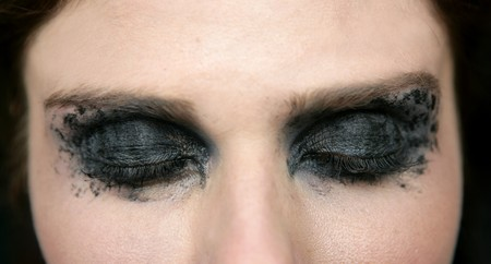 Black makeup eye shadows fashion model closeup Stock Photo - 4280167