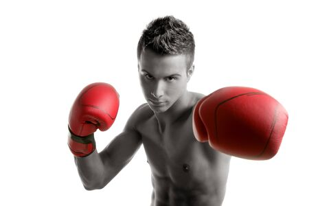 Young handsome boxer man isolated on white, studio shot Stock Photo - 4348627