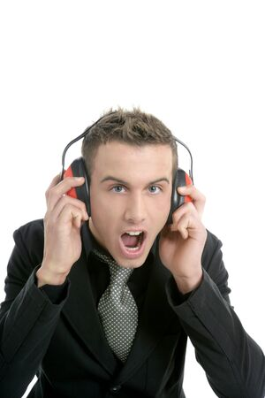 noises: Businessman shout, noisy enviroment, headphones, isolated on white