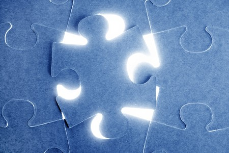conection: Blue puzzle, communication teamwork metaphor, conection challenge