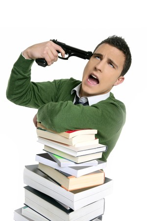 Unhappy sad student suicide gun metaphor, stacked books over white photo