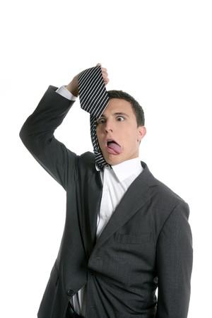 ahorcado: El ahorcado con su propia corbata empresario, aisladas en blanco