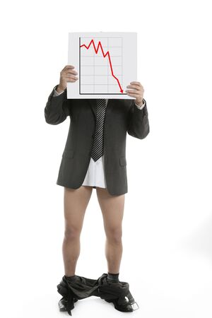 Businessman scared by bad chart sales report, trousers falling Stock Photo - 4400438