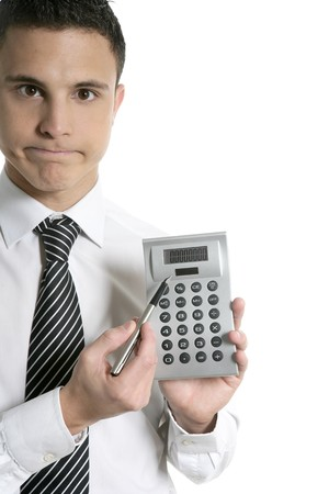 Businessman with calculator showing reports isolated on white photo