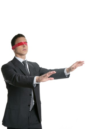 ojos vendados: La burocracia venda empresario aislado en el fondo blanco Foto de archivo