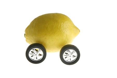 Ecological transport metaphor, clean energy, lemon and wheels