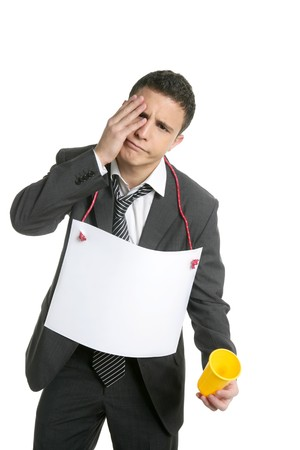 Businessman lost job asking for a work, copy space isolated on white Stock Photo - 4439661