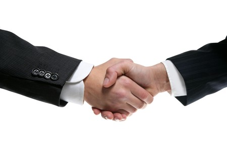 Businessman teamwork partners shaking hands with suit photo