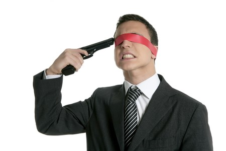 Red tape blindfold businessman with hand gun, suicide expression photo