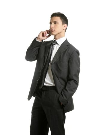 Businessman talking with cell mobile phone isolated on white Stock Photo - 4439735