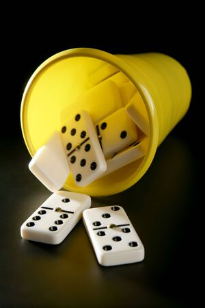 Domino game business metaphor of choosing the right way photo