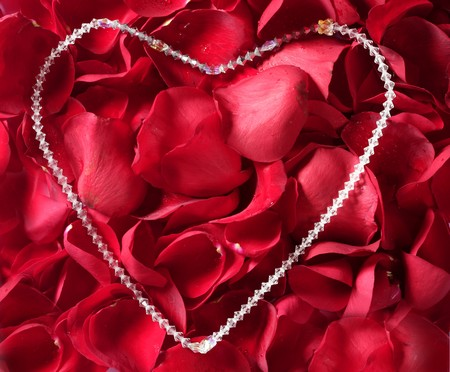 Jewel necklace over bed of red rose petals photo